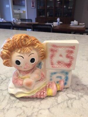 Vintage Napcoware Baby Raggedy Ann with  Bottle & A B Blocks Planter C-8794