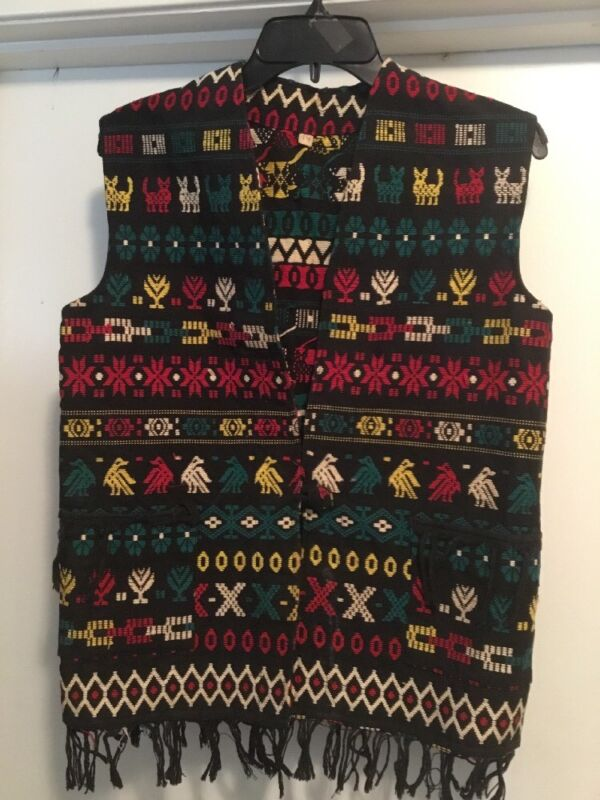 Vintage artisan BLANKET Wool Indian FRONT button Vest - New Mexico SZ 14 LADIES