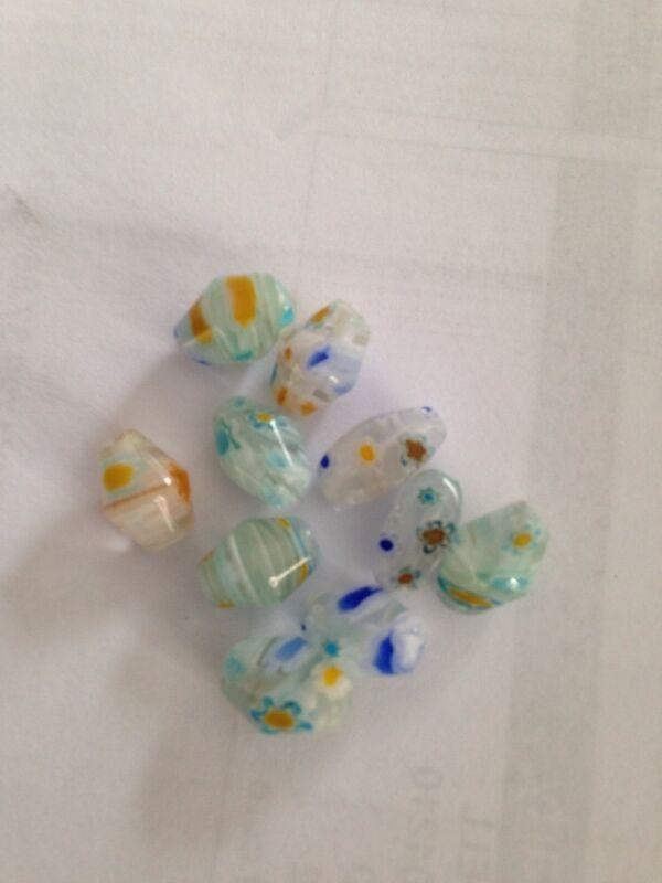 10 7X10mm Aqua/White/Multi Millefiori Glass Beads L@@K #12