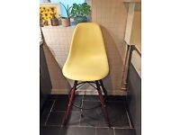 Eames DSW inspired retro yellow counter height chair. Plastic, wood, metal