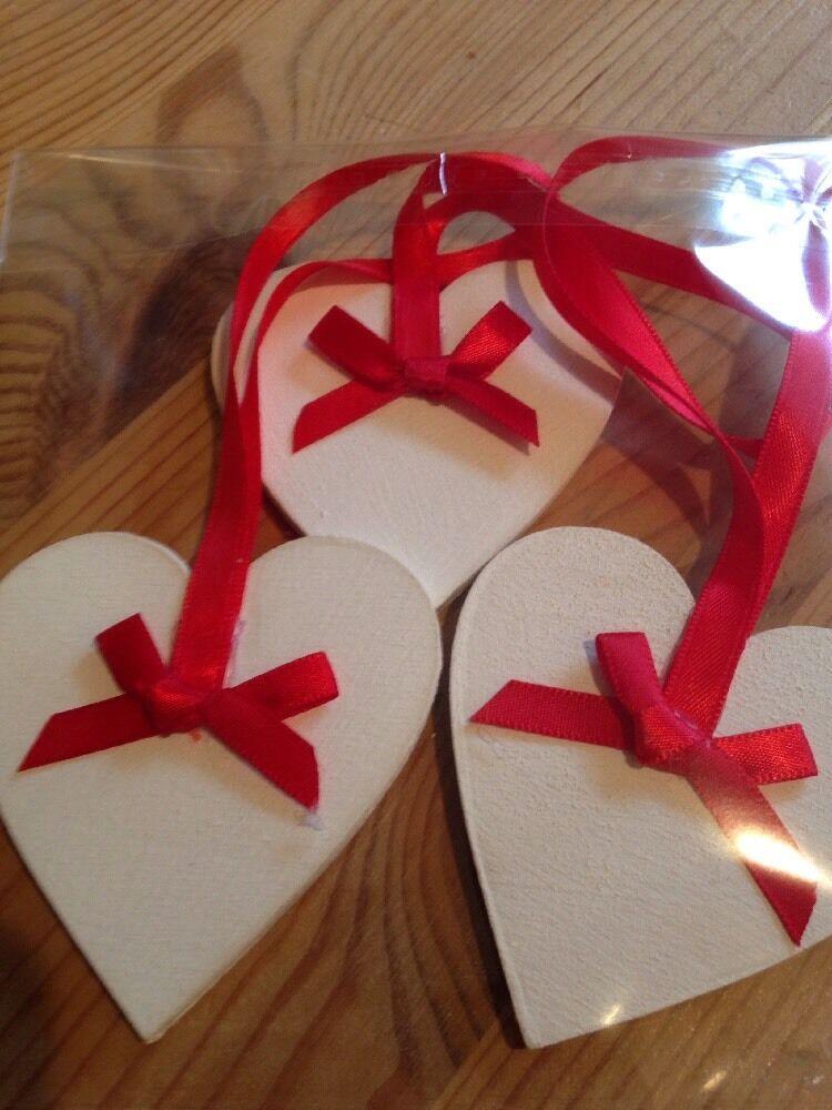 3 X Handmade Christmas Decorations Shabby Chic Christmas Tree Red Picclick Uk