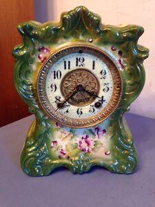 Antique Gilbert Porcelain Or China Clock Royal Bonn Style