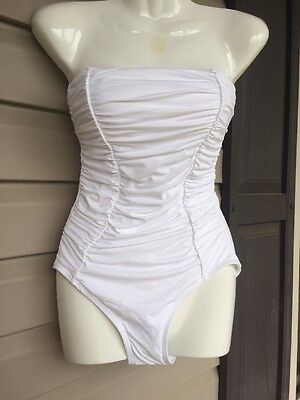 DKNY SHIRRED CLASSIC BANDEAU MAILLOT ONE PIECE SWIMSUIT WHITE SIZE 4 NEW! -