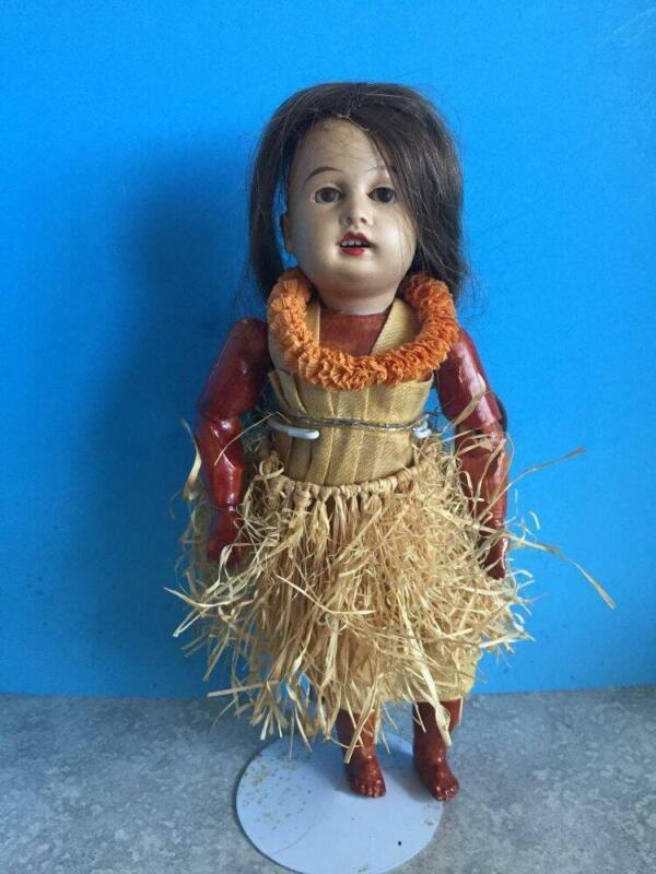 Antique GERMAN  Bisque Doll  HAWAIIAN Hula   BJ Body