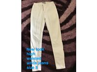 New look high waist skinny white jeans
