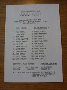 22-11-1980-Aston-Villa-Reserves-v-Bolton-Wanderers-Reserves-Single-Sheet-Scor