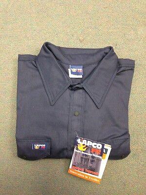 Lapco 7oz Flame Resistant Welding Shirt Navy Blue Medium