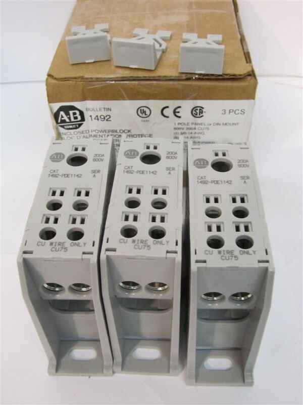 Allen-Bradley 1492-PDE1142, Enclosed Power Distribution Terminal Blocks - 3 Each