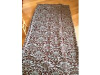 2 x full length, fully lined Damask curtains
