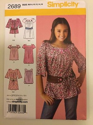Simplicity Sewing Pattern 2689 Girls Dresses Tops Sizes 8-16 New