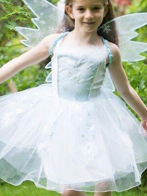 Mädchen Funkelnd Weiß Winter Eiskönigin Fee Prinzessin Maskenkostüm 3-8 Jahre