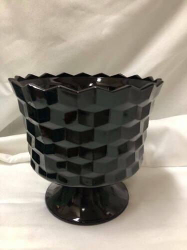 "Vintage Black Amethyst Cubist Pattern Black Milk Glass  Bowl 6""x 5.5"" Footed"
