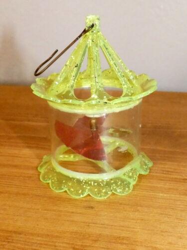 Vintage 1950s Christmas Yellow Spinner Twirler Birdcage Ornament