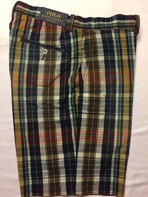 Navy Blue Classic Shorts (Polo Ralph Lauren Navy Blue Red Madras Flat Front Plaid Classic Fit Shorts)