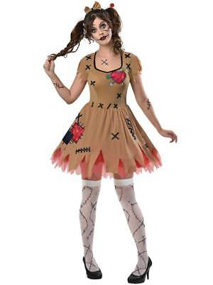 Adult Ladies Rag Voodoo Doll Costume Halloween Broken Zombie Fancy Dress Womens