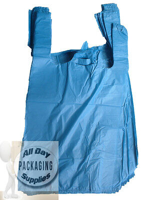 2000 BLUE POLYTHENE VEST CARRIER SHOPPING BAGS SIZE 11 X 17 X 21