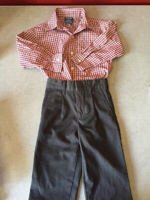 IZOD Boy's Size 2 Toddler Dress Shirt and Dress Pants Red Check Shirt/Gray - Toddler Boy Red Dress Shirt
