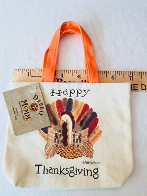 Debbie Mumm Happy Thanksgiving Goodie Bag Canvas NWT - Thanksgiving Goodie Bags