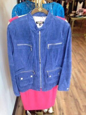 New Twiggy London Womens Leather Jacket, blue suede Size XL