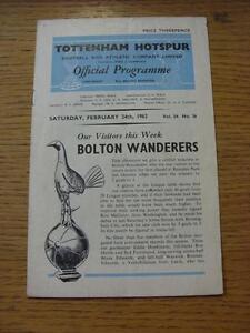 24-02-1962-Tottenham-Hotspur-v-Bolton-Wanderers-Creased-Folded-Pin-Hole-Tin