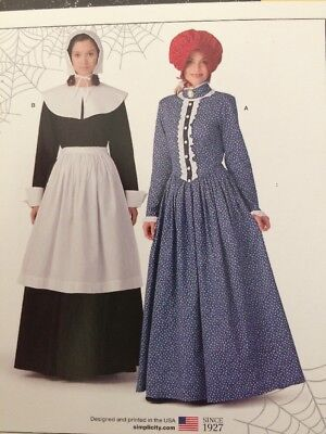 PATTERN for Colonial Pilgrim costume dress Simplicity Patriot Miss 10-20 - Colonial Costumes For Adults