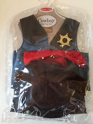 Melissa And Doug Cowboy Cowgirl Sheriff Role Play Costume Set NIP Ages 3-5 - Cowgirl And Cowboy Costumes