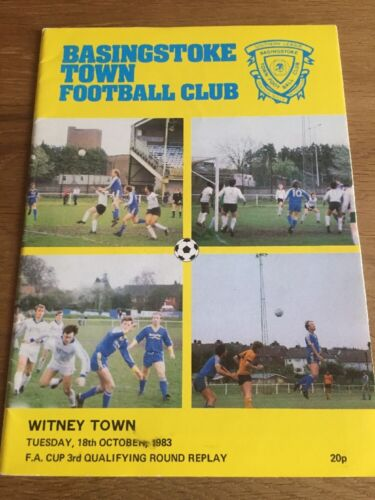 Basingstoke Town Vs Witney Town Football Programme. FA Cup 1983/84 Season