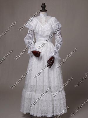 Vintage Bridal (Victorian White Vintage Lace Wedding Dress Bridal Gown Reenactment Wear 392)
