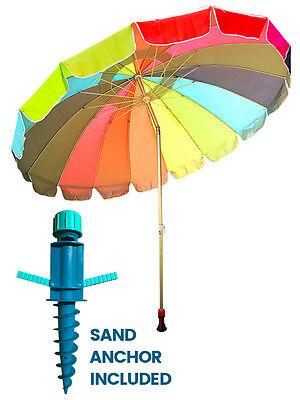 Rainbow Beach Umbrella - 8 Feet Rainbow Beach Umbrella Free Sand Anchor and Carry Bag Giant Bright Colors