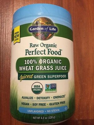 Garden of Life Perfect Food Raw 100% Organic Young Wheat Grass Juice Powder 120g