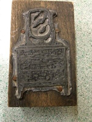 Antique Dresser Vintage Printing Press Plate Wood Brass Newspaper Stamp