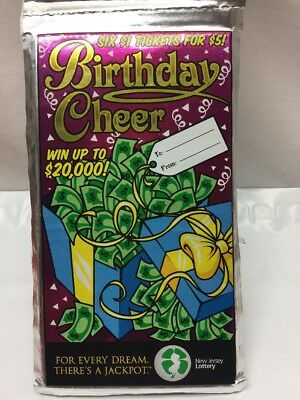 Nj Unscratched Lottery Tickets 30 Pack Of 6   Birthday Cheer  In Gift Wrap