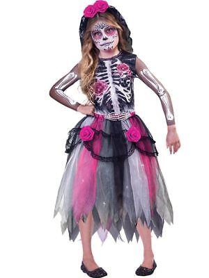Girls Day of the Dead Spirit Costume Halloween Skeleton Sugar Skull Fancy Dress](The Spirit Costume)
