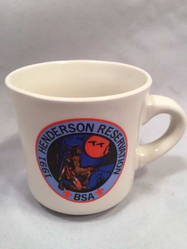 1991 Henderson Reservation BSA White Coffee Mug Excellent Condition