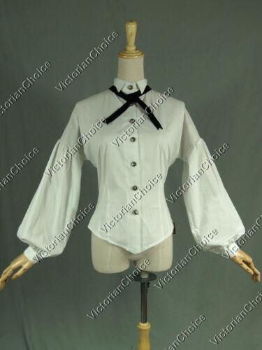 Victorian White Vintage Riding Dress Shirt Blouse Women Halloween Costume B314