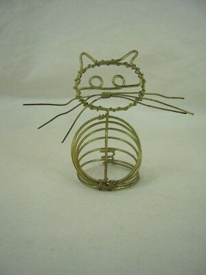"AWESOME Kitty Cat brass-colored wire wrapped spring Note Holder - 4½"" x 5¼"" x 3"""