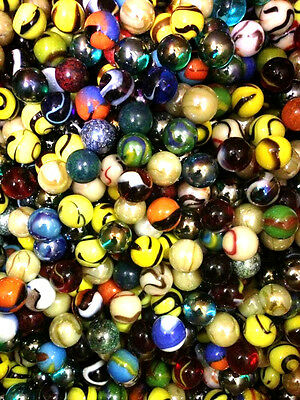 "Set of 24, 5/8"" Glass Player Marbles, Bulk Assorted Mega Lot"