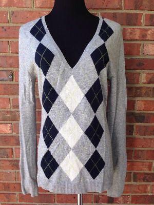 J Crew Classic Womens Cashmere Blend Argyle Vneck Sweater Grey Blue Diamonds M 8