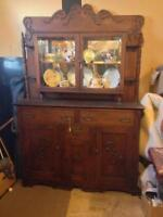 DARK WOOD EARLY 1900'S SIDEBOARD & HUTCH reduced
