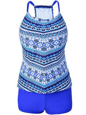 Womens 2 Piece Tankini Bikini Set Push-up Padded Boyshorts Swimwear Plus Size Boyshort 2 Piece Swimsuit
