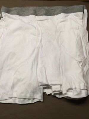 Men's Stafford White W/Grey Waistband Boxer Briefs Size 2XL (46-48) Lot Of 6 New