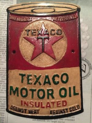 "Texaco Sign Antique Style Oil Gas Advertisement Over 1/4"" Thick Solid Metal Cast"