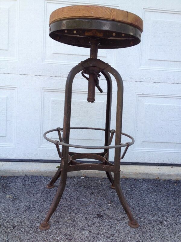 Antique TOLEDO Industrial Drafting Stool/Chair Adjustable Swivel Seat