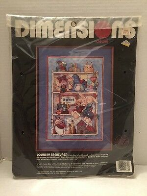 1989 Dimensions Crewel Embroidery Kit Country Treasures Unopened Sealed