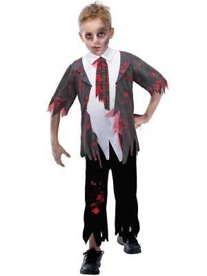 Child Zombie High Schoolboy Fancy Dress Costume New Halloween Horror Boys (Kid Zombie Kostüm)