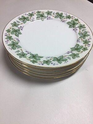 Set 6 Vintage Noritake China Madera # 5106 Gold Trim Salad Plates