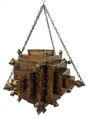 Moroccan Hanging Pendant Carved Perforated Brass Plated Metalwork Lantern Lamp