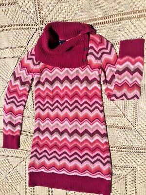 SALE @ Nearly New GAP KIDS Chevron Pink Orange White Sweater Dress Girl Sz XL 12 (Childrens Party Dresses Sale)