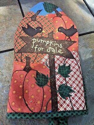 Primitive Decor PUMPKINS FOR SALE Halloween Fall BLACK CROW Oven Mitt Pot Holder