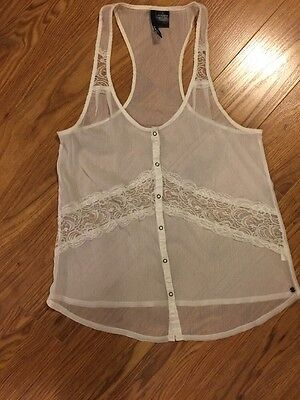 o'neill sheer racer back lace insert size small juniors shirt White ()